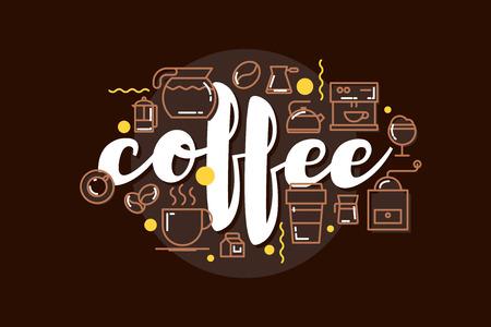Cafe banner template design with lettering for coffee shop. Modern hipster colorful cafe menu. Illustration