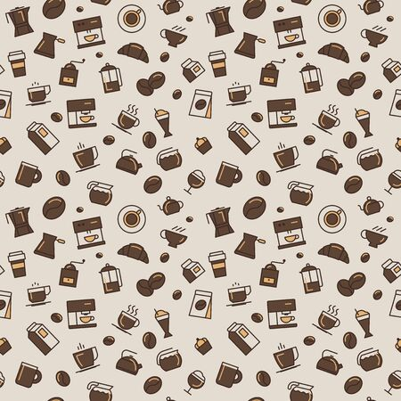 Vector coffee pattern. Light colors