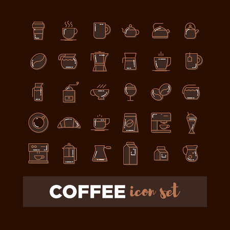 Outline web icon set - drink coffee, tea Çizim