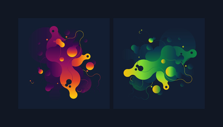 Modern style abstraction with composition made of various rounded shapes in color.