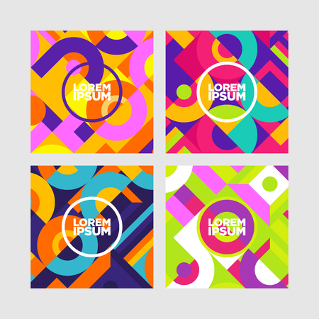 Trendy neon lines and circles wallpaper in a modern material design style.