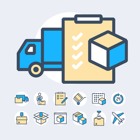 Simple Set of Delivery Related Color Vector Line Icons. Illustration