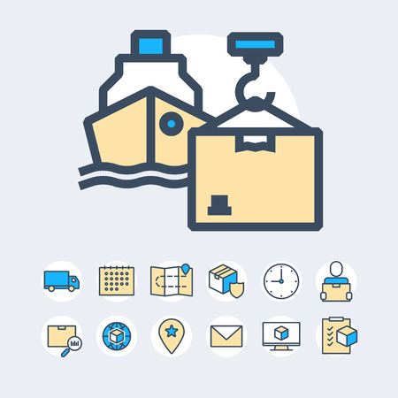 Simple Set of Delivery Related Color Vector Line Icons. Çizim