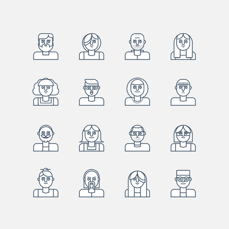 Male and female line icons. Vector people avatar faces.