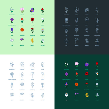 Set of flat icon flower icons