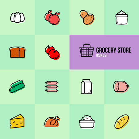 Grocery store set icons