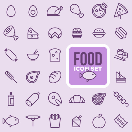 Food icon set, outline style. Çizim