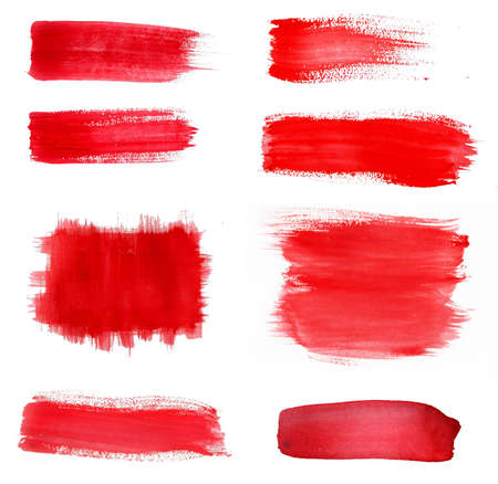 paint splash: set of Red paint drawn with brush stroke Stock Photo