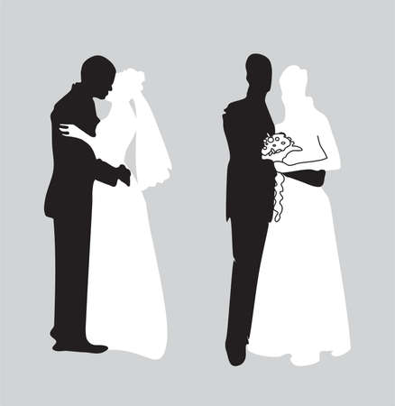silhouette of newly-married couple