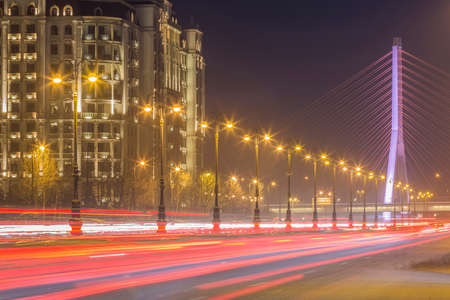 Light trails of road trafic, the night view of Heydar Aliev avenue in Baku, Azerbaijan