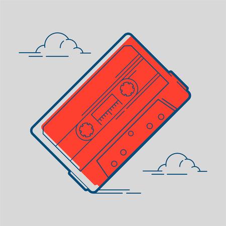 An  Audio tape cassette isolated on plain gray background. Ilustração