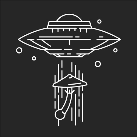 UFO and mushroom isolated on plain black background Illustration