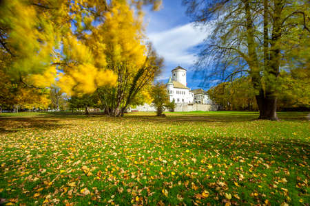 old  ruin: Old ruin in Autumn colorful park Stock Photo