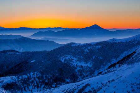 mala fatra: Glowing sunrise in Mala Fatra mountain range Stock Photo