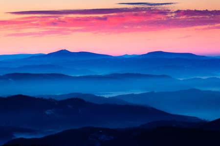 mala fatra: Layered mountain peaks in sunset, Mala Fatra, Slovakia