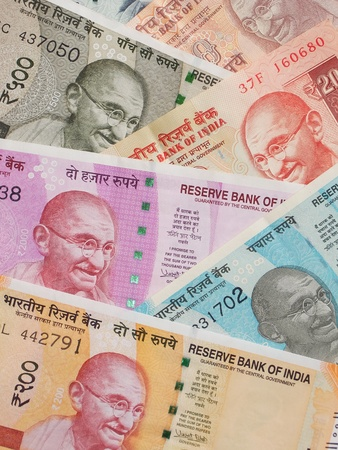 10, 20, 50, 100, 200, 500 and 2000 Indian rupees, old and new notes