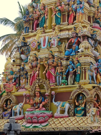 Bangalore, India - November, 19th, 2017. Sri Mahalakshmi Temple, details of architecture. 報道画像