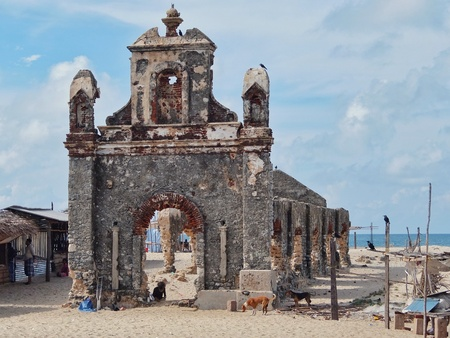 Rameshwaram, India - November, 21st, 2017. Ruins of the small village Dhanushkodi Stock Photo