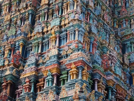 Madurai, India - November, 20th, 2017. Meenakshi Sundareswarar Temple in Madurai. Tamil Nadu, India. It is a twin temple, one of which is dedicated to Meenakshi, and the other to Lord Sundareswarar Stock Photo