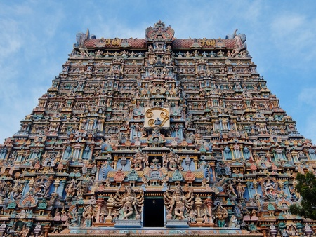 Madurai, India - November, 20th, 2017. Meenakshi Sundareswarar Temple in Madurai. Tamil Nadu, India. It is a twin temple, one of which is dedicated to Meenakshi, and the other to Lord Sundareswarar Editorial