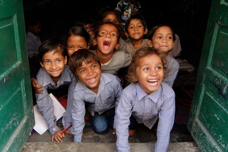 Rishikesh, India - November, 7th, 2017. Smiling kids in local indian school.