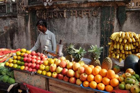 Rishikesh, India - November, 9th, 2017. Local fruit market in Rishikesh Editorial