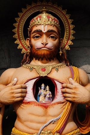 Rishikesh, India - November, 9th, 2017. View of the Hanuman statue in Parmarth Niketan Ashram, Rishikesh Stock Photo