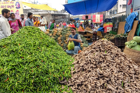 Bangalore, India - December, 14th, 2016. Central market in Bangalore