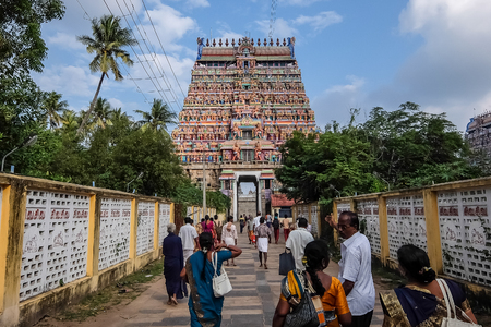 Chidambaram, India - December, 16th, 2016. View of the Nataraja temple, Chidambaram, Tamil Nadu, South India