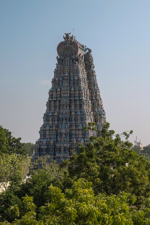 Madurai, India - December, 19th, 2016. Meenakshi Sundareswarar Temple in Madurai. Tamil Nadu, India. It is a twin temple, one of which is dedicated to Meenakshi, and the other to Lord Sundareswarar Editorial