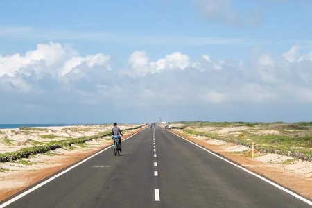 Rameshwaram, India - December, 21st, 2016. Road to the end of the world, Dhanushkodi village, Rameshwaram, India