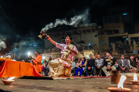 Varanasi, India - December, 11th, 2017. Ganga Aarti ceremony at Dasashvamedh Ghat. Redakční
