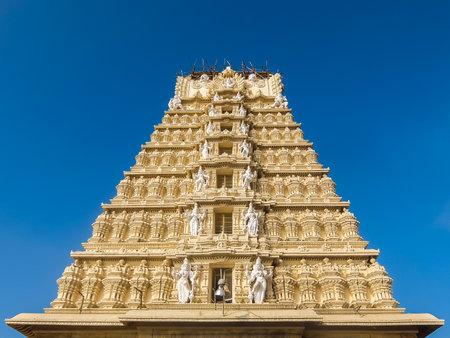 Mysore, India - December, 25th, 2017. View of Sri Chamundeshwari Temple, located on Chamundi Hills near Mysore. Editorial