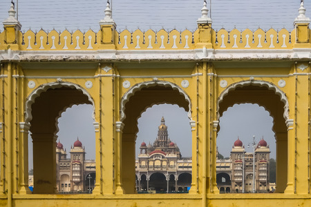 Mysore, India - December, 25th, 2017. View of Mysore palace. Editorial