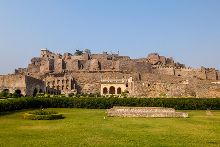 Hyderabad, India - January, 4th, 2018. Golkonda is a citadel and fort in Southern India and was the capital of the medieval sultanate of the Qutb Shahi dynasty, is situated 11 km west of Hyderabad.