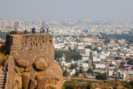 Hyderabad, India - January, 4th, 2018. View of Hyderabad cityscape from Golkonda fort walls.