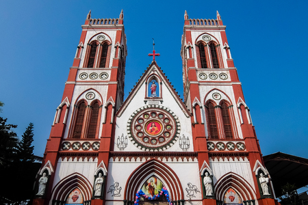 Pondicherry, India - December, 26th, 2017. Facade of catholic church in Pondicherry (The Sacred Heart Basilica)