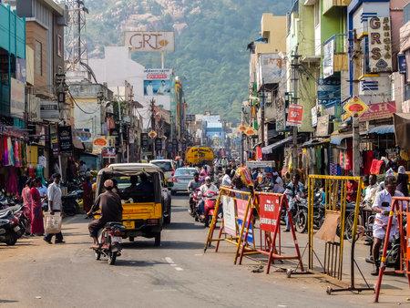 Tiruvannamalai, India - Circa January, 2018. Road traffic in Tiruvannamalai.