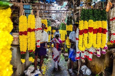 Tiruvannamalai, India - Circa January, 2018. Flower market in Tiruvannamalai, India.