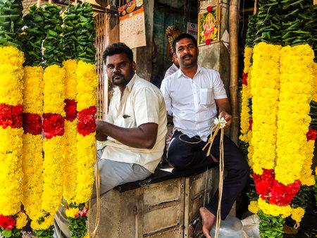 Tiruvannamalai, India - Circa January, 2018. Flower market in Tiruvannamalai, India. Editorial