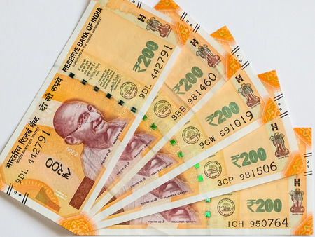 200 Indian rupees, new notes. Stock Photo