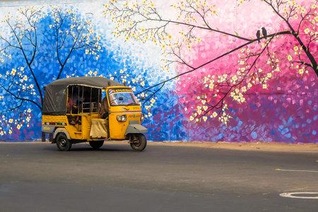 Vijayawada, India - Circa January, 2018. Rickshaw cab on the street of Vijayawada, India. Editorial