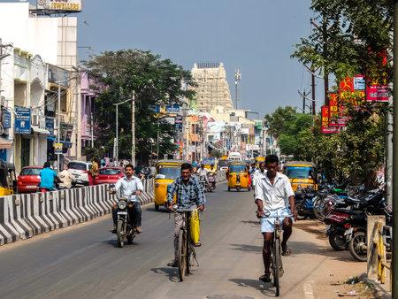 Kanchipuram, India - Circa January, 2018. Street traffic in Kanchipuram. Editorial