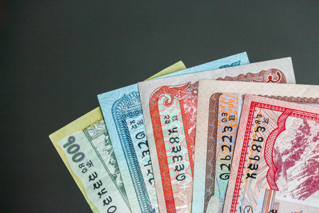 Closeup view of nepalese currency (banknotes).