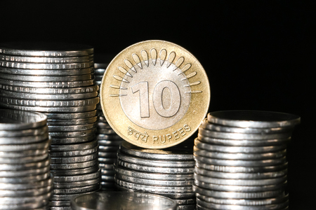 Close up view of new indian coins.