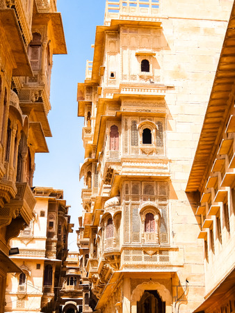 Jaisalmer, India - Circa March, 2018. Beautiful architecture of Patwon Ki Haveli in Jaisalmer.