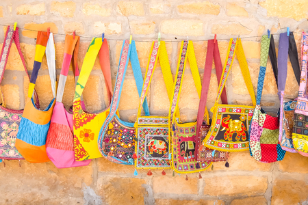Jaisalmer, India - Circa March, 2018. Beautiful bags for sale at the street shop. Stock Photo