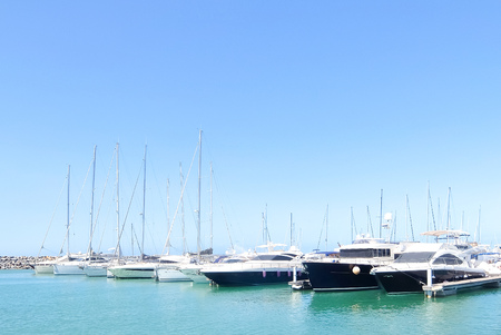 San Vincenzo, Italy - Circa  September 2017. Sunny day in harbor. View of yachts moored in a small coastal town on the shores of the Thyrranean sea, is one of the best place of the Etruscan Coast. Stock Photo