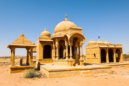 Architecture of Vyas Chhatri in Jaisalmer fort, Rajasthan, India. Stock Photo - 121090166