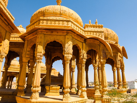 Architecture of Vyas Chhatri in Jaisalmer fort, Rajasthan, India.